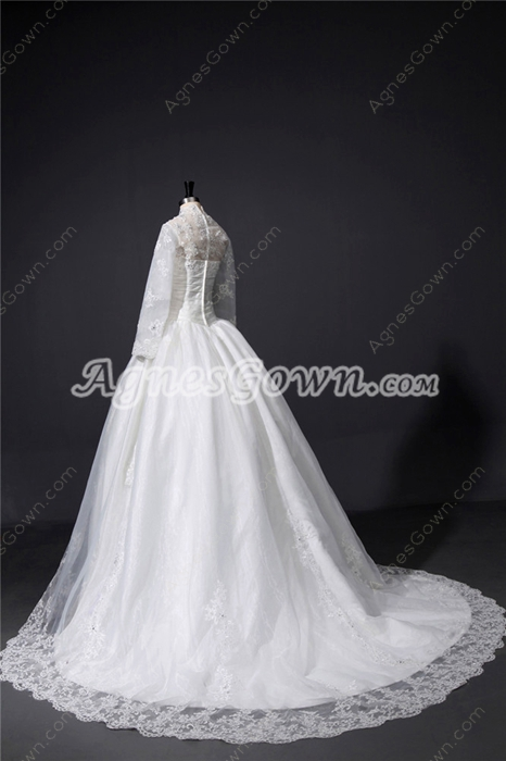 Modest High collar Long Sleeves Lace Winter Wedding Dresses