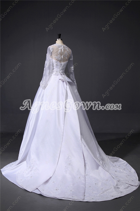 Strapless Modern Lace Wedding Dresses with Long Sleeves