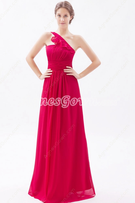 Inspired One Shoulder Fuchsia Chiffon Long Bridesmaid Dress