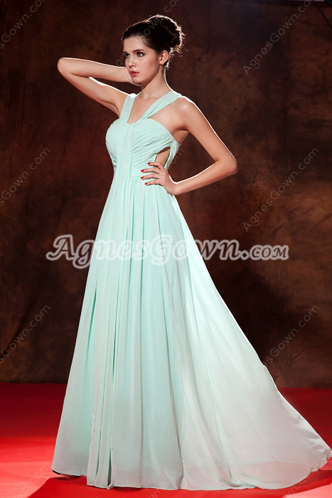 Beautiful Double Straps Full Length Sage Colored Graduation Dress For College