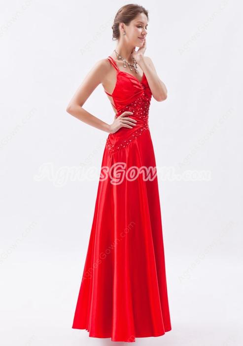 Crossed Straps Back A-line Red Satin Evening Dress