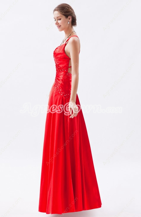 Crossed Straps Back A-line Red Satin Evening Dress