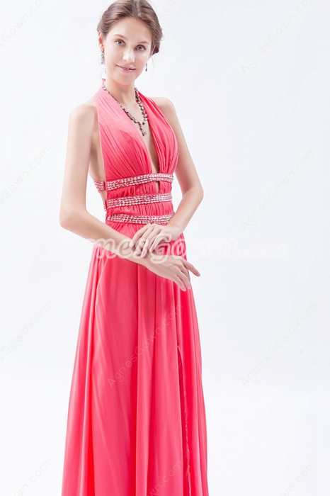 Sexy Halter Column Full Length Watermelon Chiffon Prom Dress