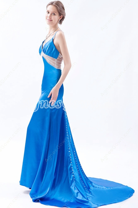 Desirable Crossed Straps Back A-line Turquoise Informal Evening Dress