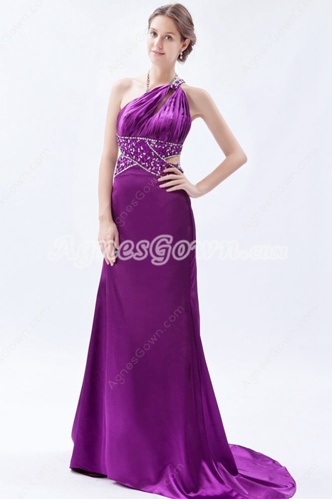 Hot One Shoulder Satin Regency Colored Evening Dress