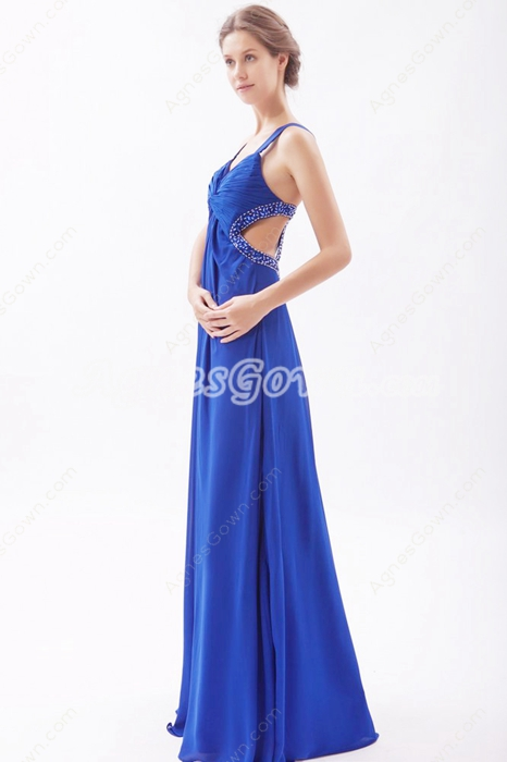 Crossed Straps Back A-line Royal Blue Chiffon Evening Dress