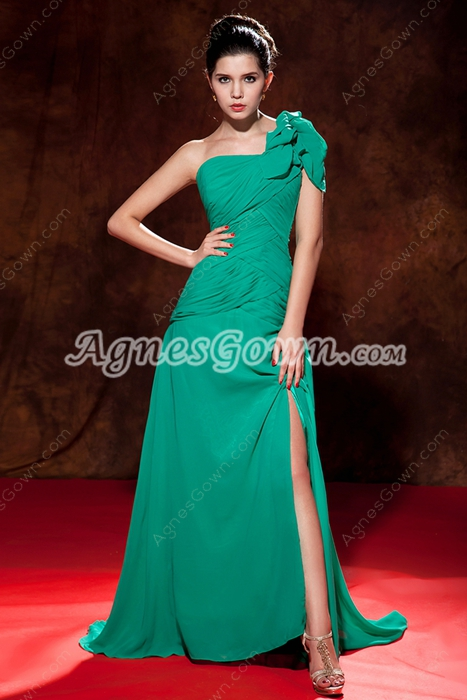 Elegance One Shoulder Hunter Green Evening Dress With High Slit