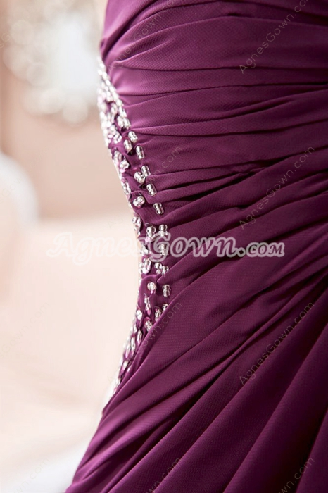 Crossed Straps Column Floor Length Grape Colored Evening Dress