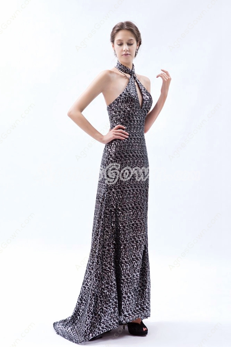 Modern Halter A-line Special Evening Dress High Slit