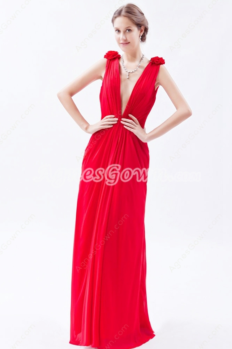 Hot Deep V-Neckline A-line Red Chiffon Informal Evening Dress