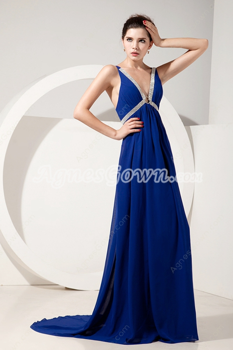 Plunge Neckline Empire Full Length Royal Blue Maternity Evening Dress