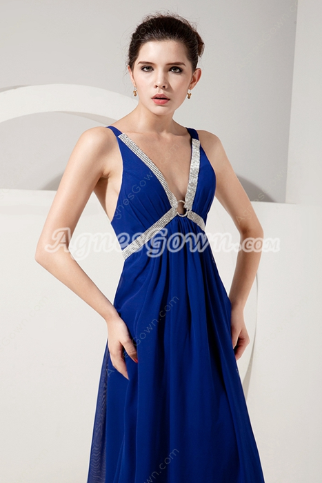 Plunge Neckline Empire Full Length Royal Blue Maternity Evening Dress