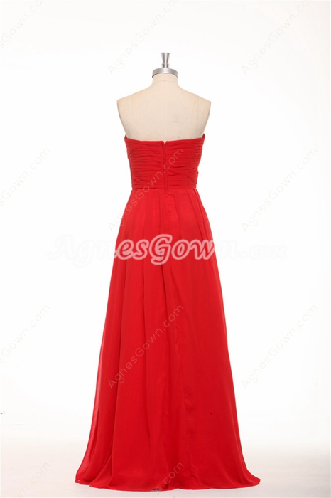 Strapless A-line Red Chiffon Long Prom Dress