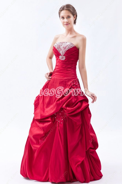 Strapless Taffeta Simple Red Quinceanera Dress With Great Handwork