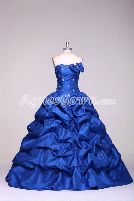 Strapless Royal Blue Beautiful Quinceanera Dresses