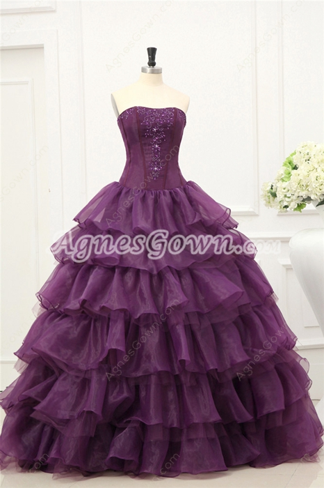 Western Strapless Grape Organza Layers Quinceanera Dresses