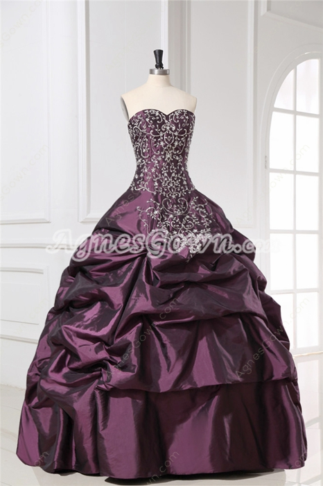 Dramatic Embroidery Grape Sweet 15 Dresses