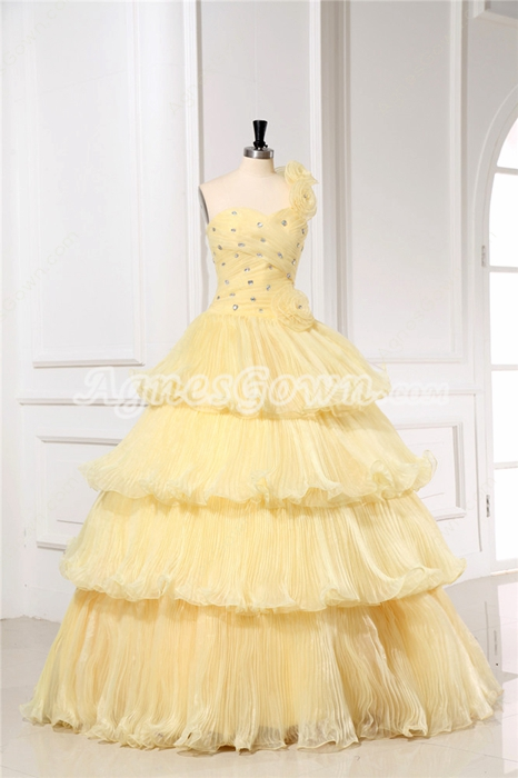 Dazzling Gold Puffy Quinceanera Dresses