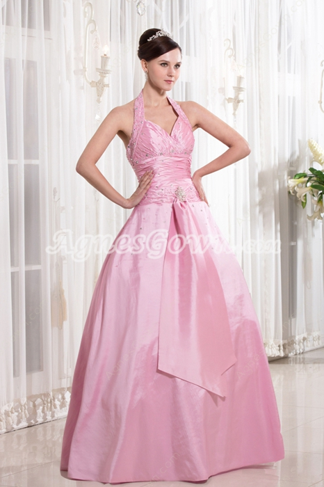 Affordable Top Halter V-Neckline Ball Gown Full Length Pink Sweet 15 Dress