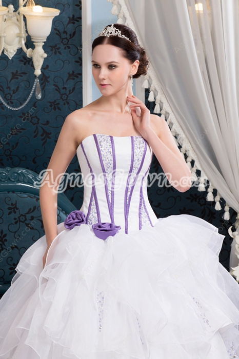 Affordable Dipped Neckline Tutu Full Length Sweet 15 Dresses