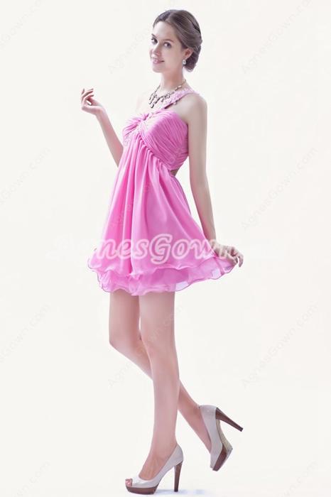 Cute One Straps Puffy Mini Length Hot Pink Chiffon Cocktail Dress