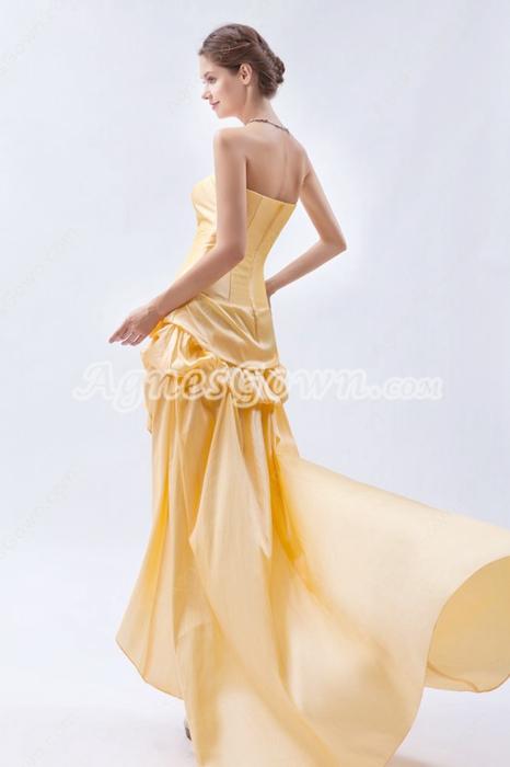 Strapless Yellow Taffeta High Low Prom Dress