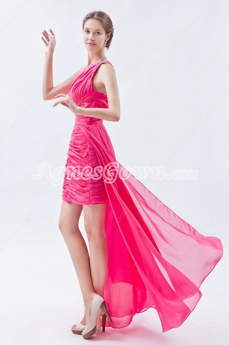 One Shoulder A-line Mini Length Pink Chiffon High Low Prom Dress