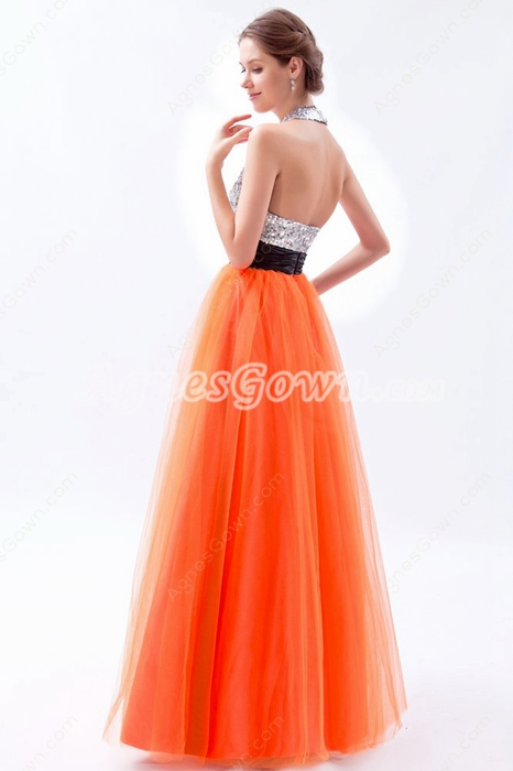 Modern Halter Silver & Orange Princess Quinceanera Dress With Black Sash
