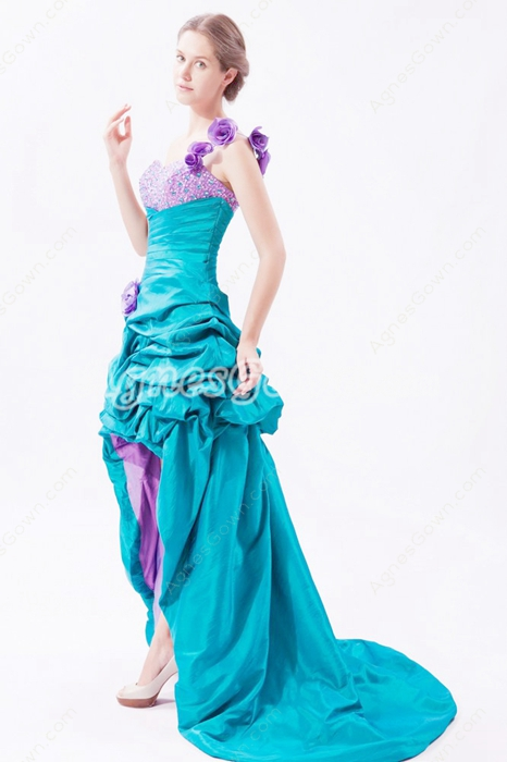 Cute One Shoulder Teal & Lilac Colorful High Low Sweet Sixteen Dress