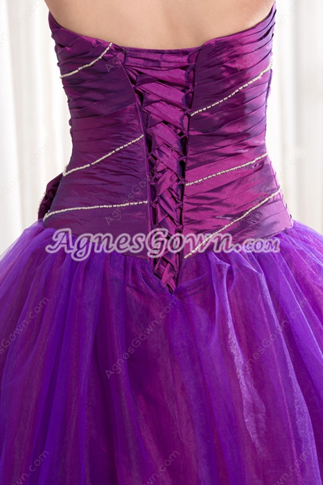 Pretty Sweetheart Neckline Full Length Purple Princess Quinceanera Dress