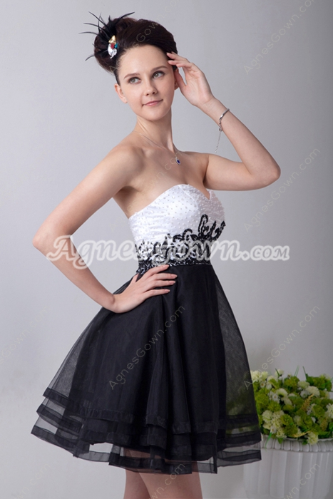 Fancy White & Black Mini Length Homecoming Dress With Beads