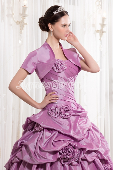 Unique Strapless Neckline Ball Gown Full Length Lilac Quinceanera Dress With Short Sleeves Jacket