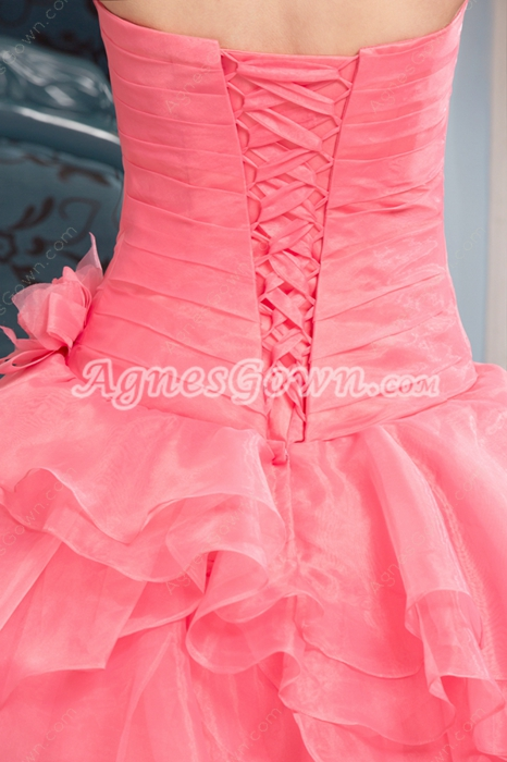 Breathtaking Strapless Peach Organza Ball Gown Sweet 15 Dress
