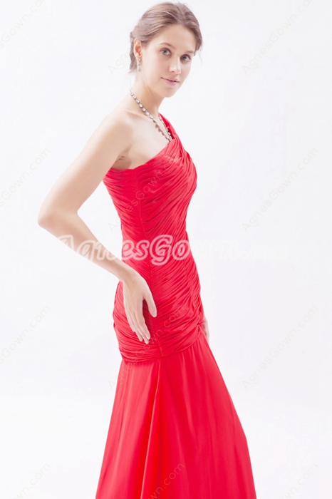 One Shoulder Sheath Red Chiffon Formal Evening Gown