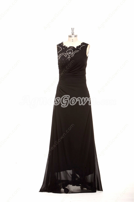 Scoop Neckline Chiffon And Lace Mother Of The Bride Dress