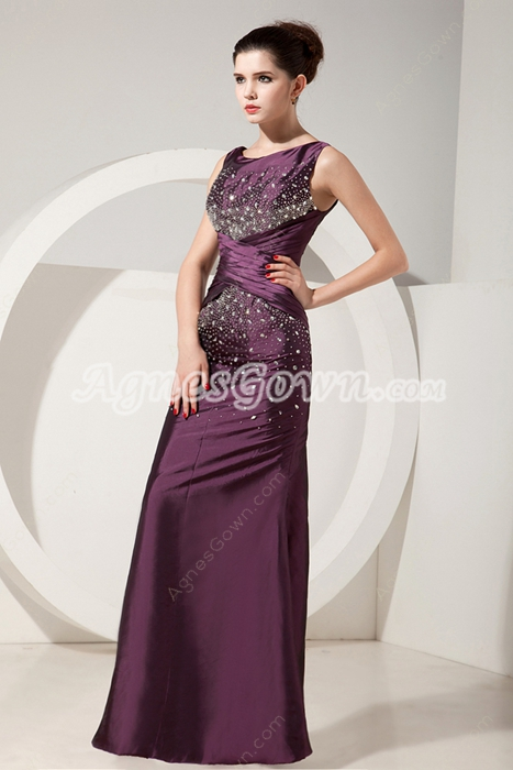 Charming Scoop Neckline A-line Grape Colored Mother Dress With Jacket