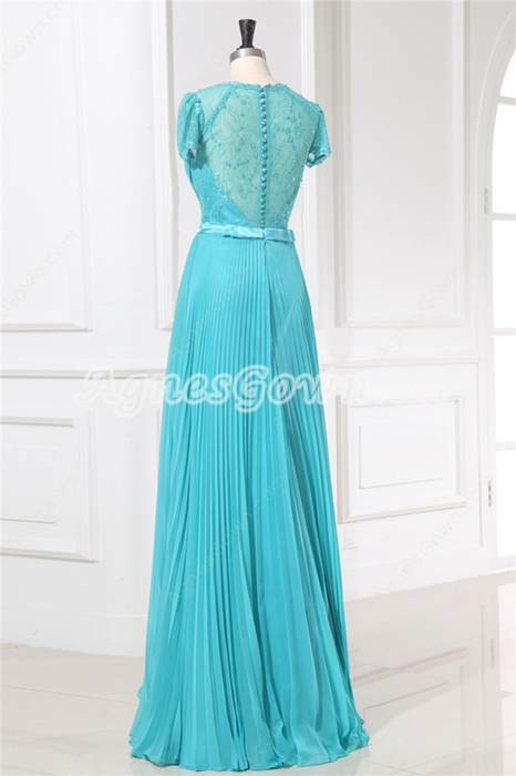 Noble Illusion Back Cap Sleeves Full Length Teal Graduation Dress
