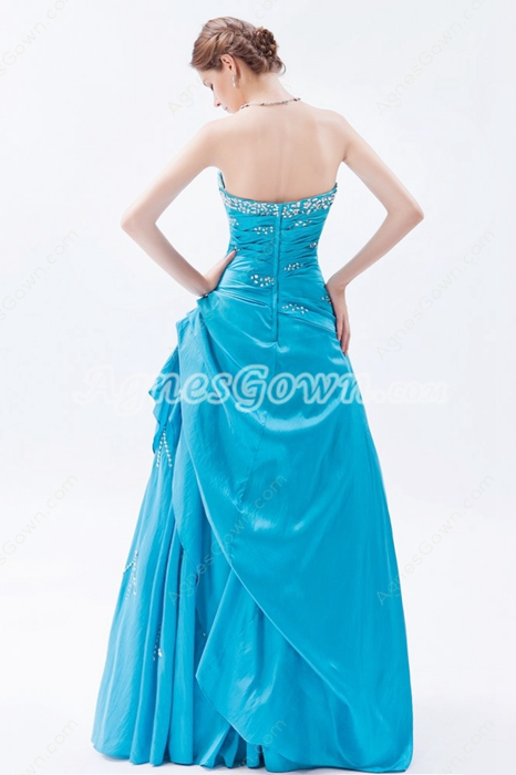 Dipped Neckline Taffeta Turquoise Long Princess Quinceanera Dress