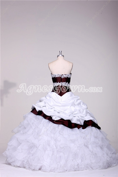 Brilliant Strapless Sweetheart White and Burgundy Quinceanera Dresses