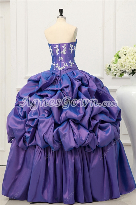 Beautiful Strapless Lavender Pick up Quinceanera Dress