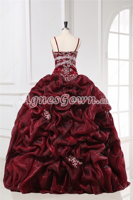 Exquisite Spaghetti Straps Burgundy Masquerade Dresses for Quinceanera