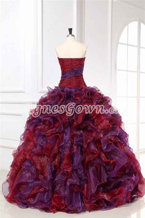 Vintage Burgundy & Purple Multi-colored Quinceanera Party Dresses