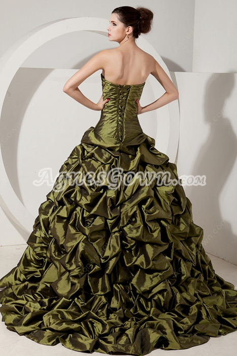 Retro Strapless Ball Gown Taffeta Military Green Quinceanera Dress With Jacket