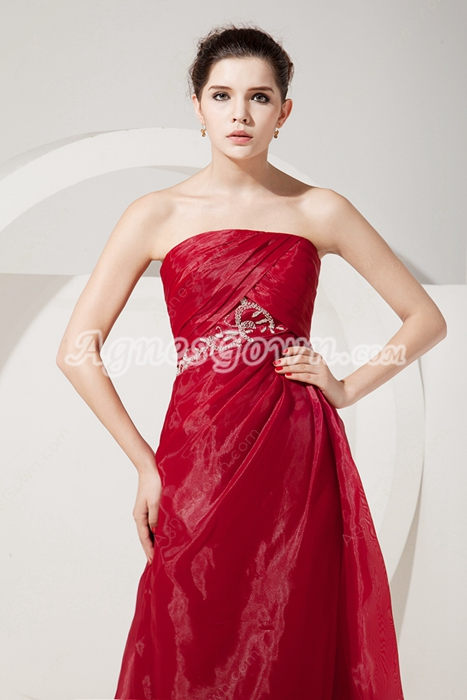Decent Strapless A-line Burgundy Organza Mother Dress With Jacket
