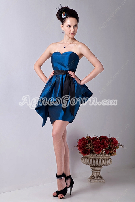 Dazzling Sweetheart Mini Length Turquoise Taffeta Cocktail Dress With Black Sash