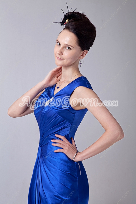 Sheath Knee Length Royal Blue Satin Wedding Guest Dress