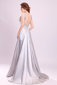 Jewel Neckline A-line Full Length Silver Satin Backless Wedding Dress