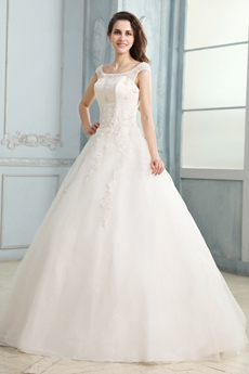 Affordable Scoop Neckline White Tulle Ball Gown Bridal