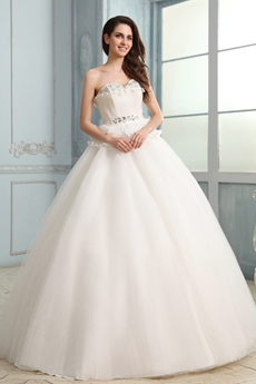 Magnificent Sweetheart Neckline Ball Gown Floor Length Wedding Dress With Peplum Embellished