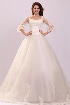 Plus Size Wedding Dresses,3/4 Sleeves Square Neckline Puffy ...